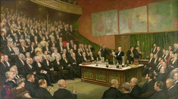 A Friday Evening Discourse at the Royal Institution; Sir James Dewar on Liquid Hydrogen, 1904 (oil on canvas) by Brooks, Henry Jamyn (1865-1925); The Royal Institution, London, UK.